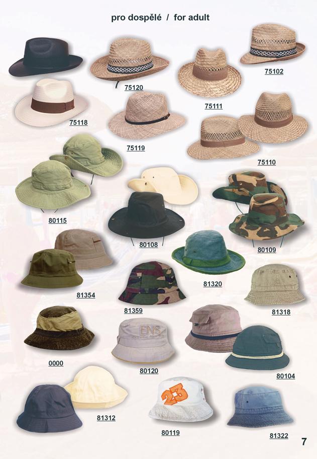 slamáky a bavlněné klobouky